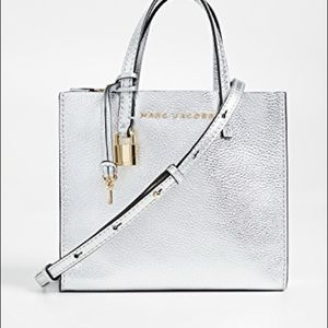 Marc Jacobs mini grind silver leather handbag